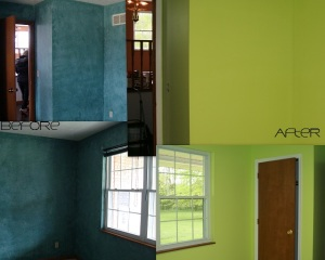 LOVE the lime green color.  going to have all white trim and furniture in the new craft room!