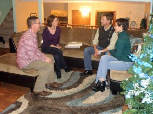 Randy and Carol sit and chat with Deron and Pam
