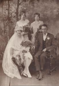 Great Aunt Albertine's wedding day to Elmo Hodges, with Frances and Clara Lueken as attendants (her sisters)