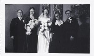 Grandma (Hermina) on her Wedding day; L-R = Gus Bointman (Best Man) Frances Lueken (Maid of Honor and Hermina's sister), Hermina, Anna Marie Lueken (Hermina's mother), and Albert Ludwig (the groom/my grandfather)