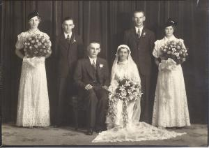 Great Uncle Urban at his wedding to Norena.  Two of the attendants are Great Aunt Mary and Great Uncle Jerome (did not have names for the others)